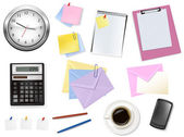 Calculator and some office supplies. Vector. — Stock Vector