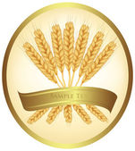 Photo-realistic vector illustration. Ears of wheat and ribbons. — Stock Vector