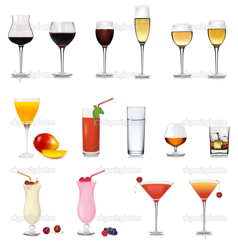 Set of cocktail. Vector illustration. — Stock Vector ...