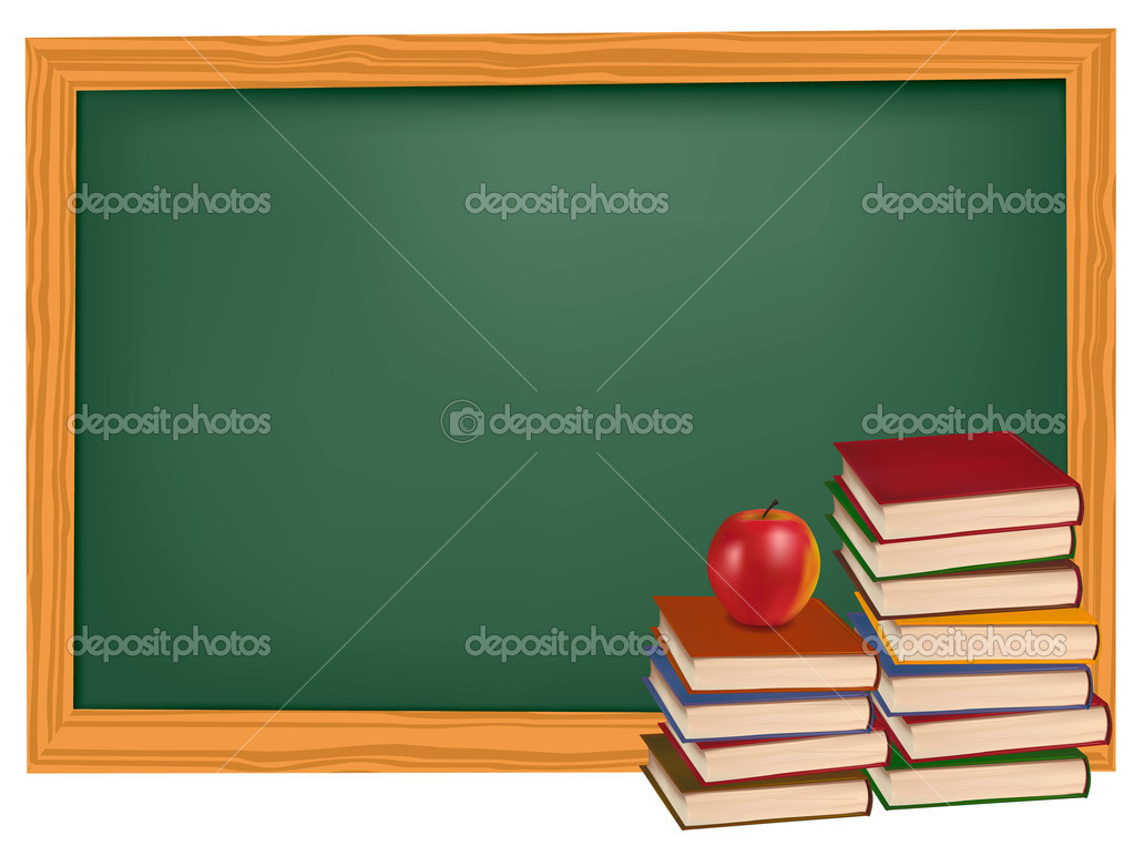 School books with apples on the desk. Vector.  — Stock Vector #5752430