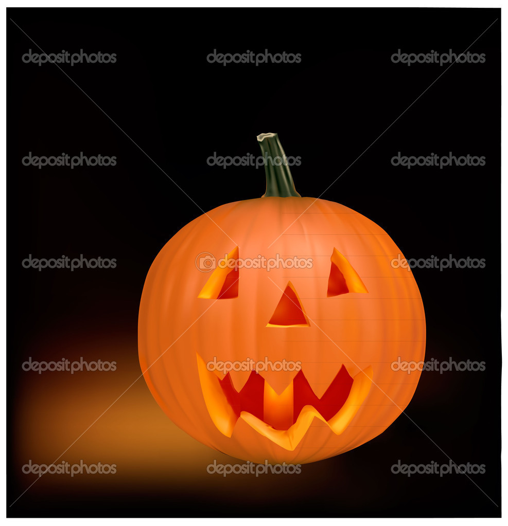 Halloween pumpkin vegetable fruit isolated on black background. Vector   Stock Vector #5752450