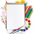 Stock Vector: Notebook with school supplies. Vector.
