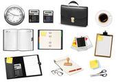Negocios y útiles de oficina. vector. — Vector de stock