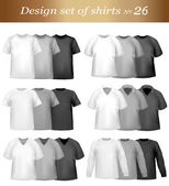Black, white and grey men polo and t-shirts. — Stock Vector