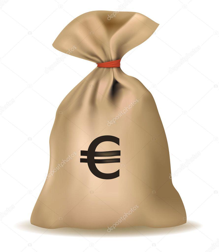 Money bag with euro. Vector. — Stock Vector © almoond #5777016