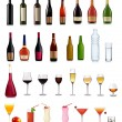 Set of different drinks and bottles. Vector illustration. — Stock Vector