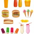Big group of fast food products. Vector. — Stock Vector