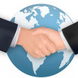 Business handshake on the background of the Earth. Vector. — Stock Vector