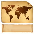 World map in vintage pattern. Vector. — Stock Vector