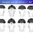 Black, white and grey men polo and t-shirts. Photo-realistic vector illustr — Stock vektor