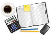 Dairy-book, cup of coffee and office supplies. Vector. — Stock Vector