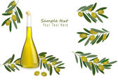 Bottle of olive oil with olives and spices. Vector. — Stock Vector