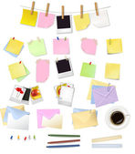 Note papers and office supplies. Vector. — Stock Vector