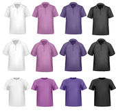 Black, white and colored polo and t-shirts. Photo-realistic vector illustr — Stock Vector