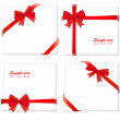 Four cards with ribbons. Vector. — Stock Vector