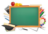 Back to school. Green desk with school supplies. Vector. — Stock Vector