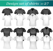 Black, white and grey men polo and t-shirts. Photo-realistic vector illustr — Stock Vector