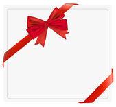 Arco vermelho presente com fitas. vector. — Vetorial Stock