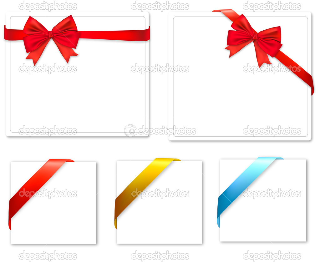 Collection of color bows with ribbons. Vector. — Stock Vector #6095846