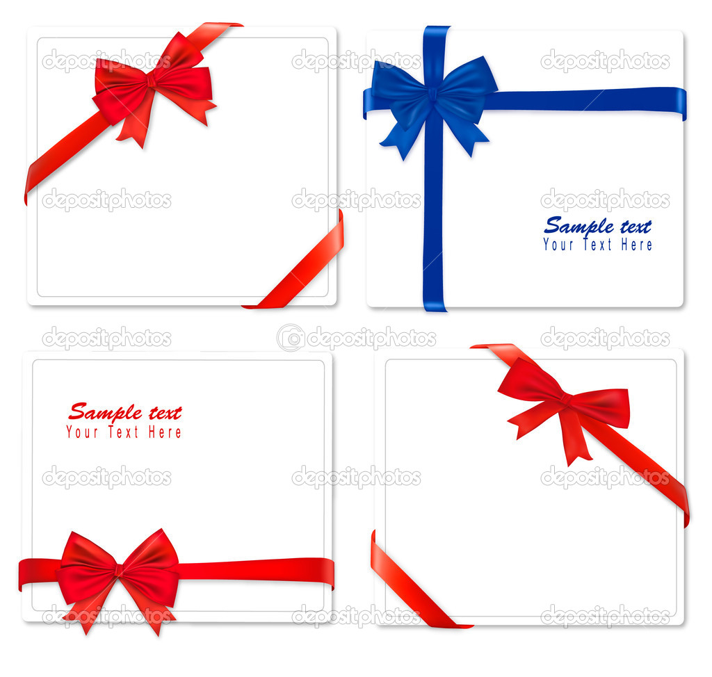 Collection of color bows with ribbons. Vector.    #6095869