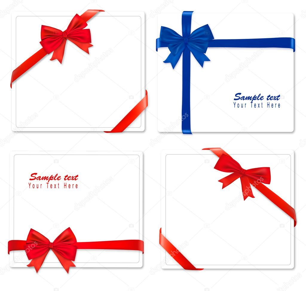 Collection of color bows with ribbons. Vector. — Stok Vektör #6095869