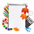Back to school. Notepad with school supplies. Vector. — Stock Vector