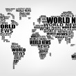 Stock Vector: World news concept. Abstract world map made from World news words. Vector.