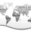 World news concept. Abstract world map made from World news words. Vector. — Stock Vector