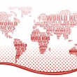 World news concept. Abstract world map made from World news words. Vector. — Stock Vector #6613635