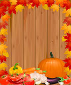Autumn background with vegetables. Vector. — Stock Vector