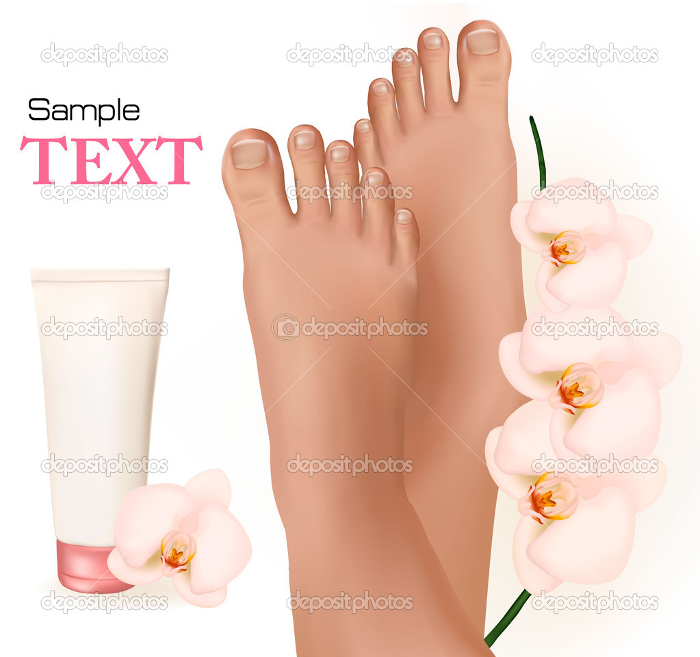 Beautiful young feet with orchids and body cream. Body care concept. Vector illustration  — Stock Vector #6613597