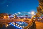 Basarab bridge in the night — Stock fotografie