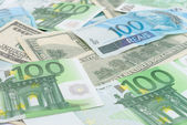 Background currencies, brazilian real, dollar and euro. — Stock Photo