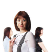 Beautiful woman on the background of — Stock Photo