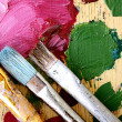 Palette and brushes - Foto Stock