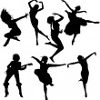 Dancing Women Silhouettes — Stock Vector