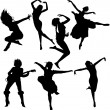 Dancing Women Silhouettes - Stock Vector