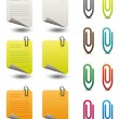 Note papers & paperclips icon set — Stock Vector