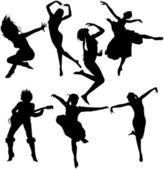 跳舞妇女剪影 — 图库矢量图片