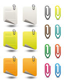 Note papers & paperclips icon set — Stok Vektör