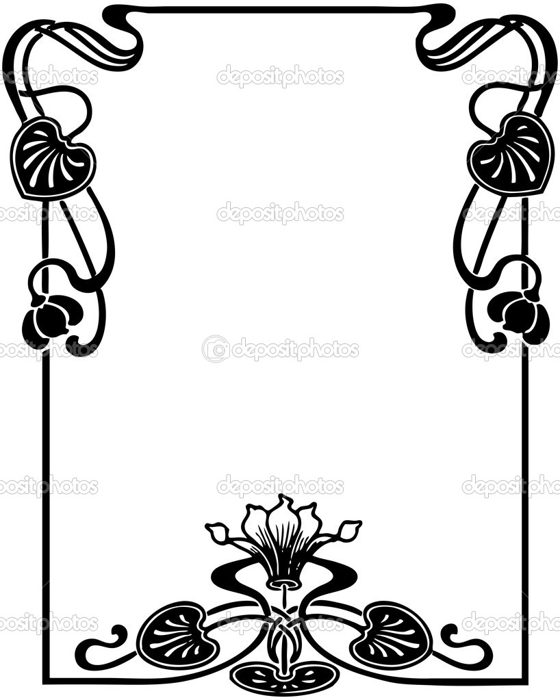 Isolated art nouveau style floral frame, design element — Stock Vector #5720422
