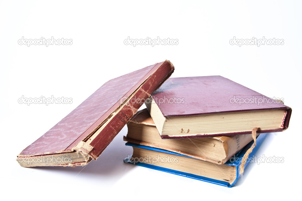 An image of old vintage book stack on white background — Stock Photo #5795391