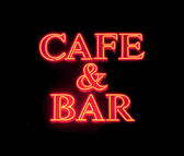 Cafe & bar neon sign — Stock Photo