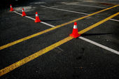 Traffic cones on the road — Stock Photo
