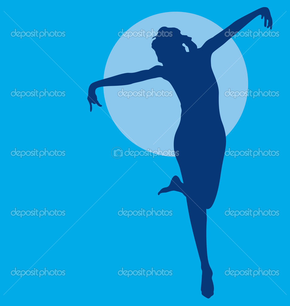 Download dancing woman silhouette stock illustration 5977091