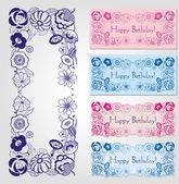 Etiquetas de feliz cumpleaños con marco floral — Vector de stock