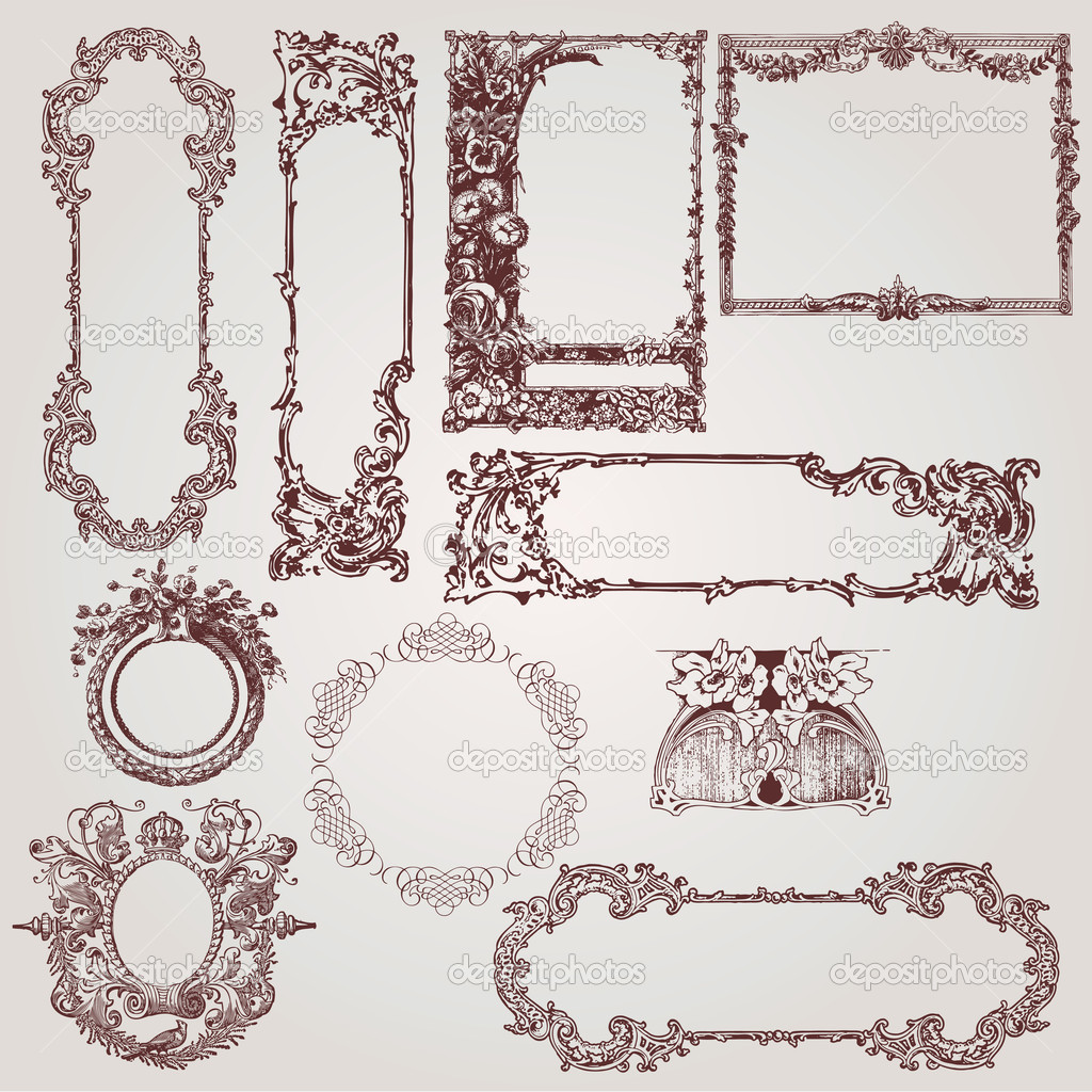A collection of beautiful antique victorian, baroque frames and design elements — Stock Vector #6222027