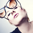 Young Glamourous Girl with Sunglasses — Stock Photo