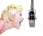 Punk Girl Shouting at the Microphone — Stock Photo