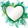 Green Heart Floral Background - Stock Vector
